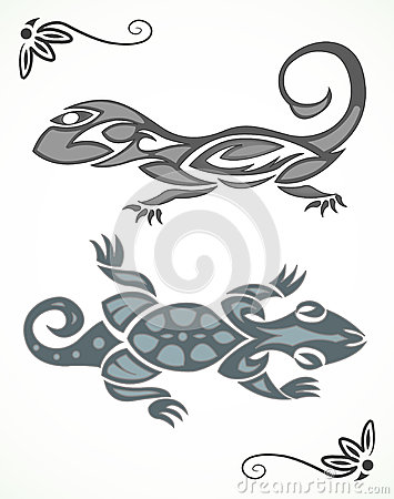 Tribal ornament of lizard