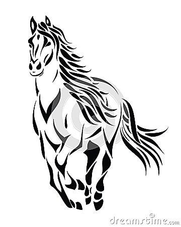 Free Tribal Running Horse Stock Image - 26596431
