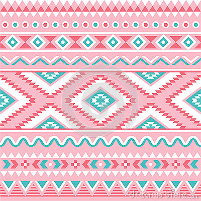 Free Tribal Seamless Pattern, Aztec Pink And Green Background Royalty Free Stock Image - 41210396