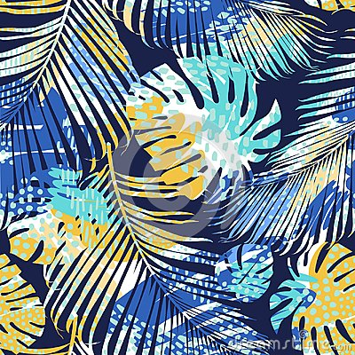 Free Tribal Seamless Pattern With Abstract Leaves. Hand Draw. Vector Template. Royalty Free Stock Photography - 117956287