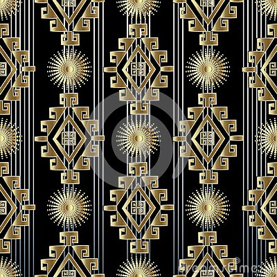 Free Tribal Striped Gold 3d Seamless Pattern Stock Photo - 118206500