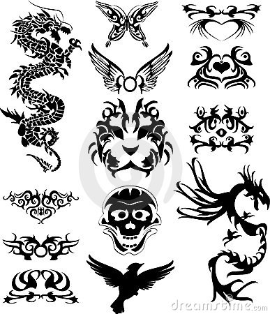 Tribal Tatto With Dragons Stock Photos - Image: 6899953