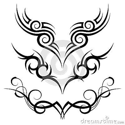Three black tribal tattoo motive on white background. Keywords: