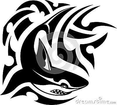 Tribal tattoo of shark
