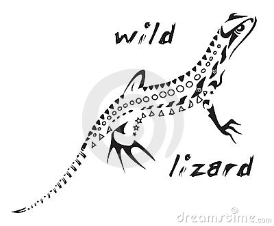 TRIBAL TATTOO WILD LIZARD (click image to zoom)