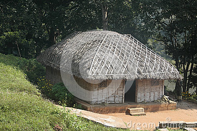 Tribal Thatch Hut inside Deep Jungle