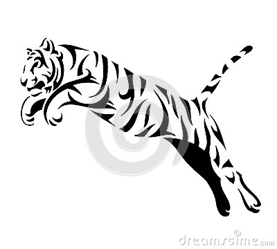 Free Tribal Tiger Jump Royalty Free Stock Image - 26503166
