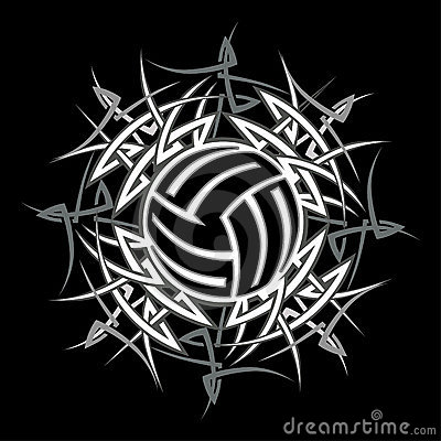 Tribal Volleyball vector Logo
