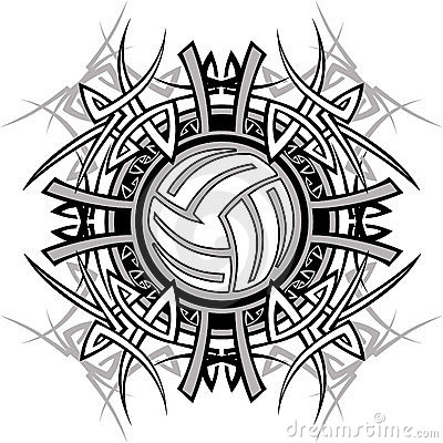 Tribal Volleyball Vector Logo Stock Photography Image