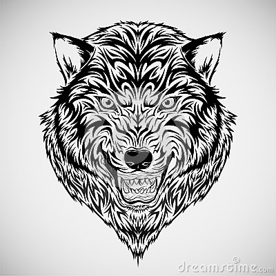 Tribal Wolf Head Tattoo