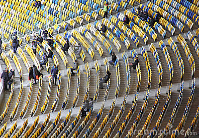 Tribunes of the Olympic stadium in Kyiv Editorial Stock Image