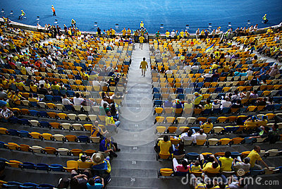 Tribunes of Olympic stadium in Kyiv Editorial Stock Image