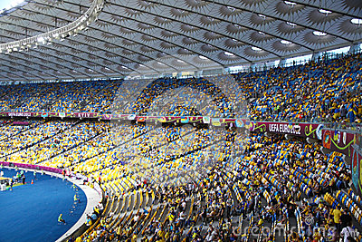 Tribunes of Olympic stadium in Kyiv Editorial Photo