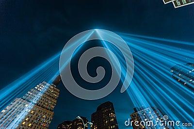 Tribute in Light beams of light Memorial. Editorial Stock Image