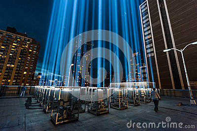 Tribute in Light beams of light Memorial. Editorial Photo