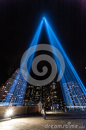 Tribute in Light beams of light Memorial. Editorial Stock Image