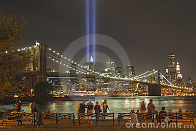 Tribute in light to honor  victims of 9/11-2001 Editorial Image