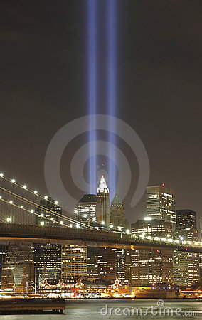 Tribute in light to honor  victims of 9/11-2001 Editorial Photography