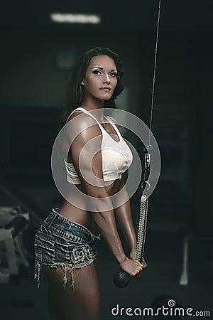 Triceps training on gym machine