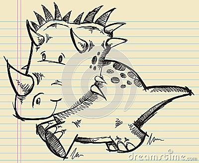 Triceratops Dinosaur Doodle Sketch