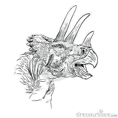 Triceratops Dinosaur Sketch  Vector  Illustration
