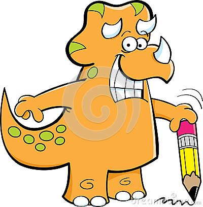 Triceratops holding a pencil