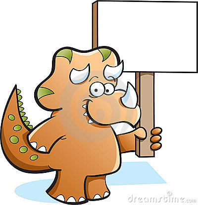 Triceratops holding a sign