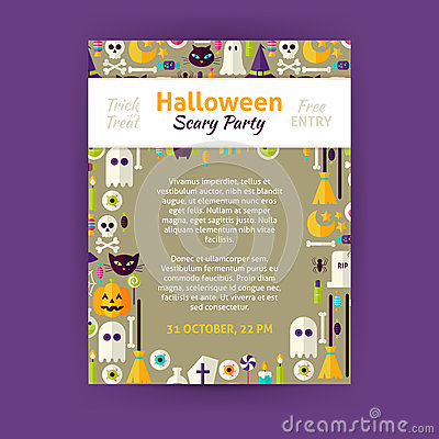 Trick Or Treat Halloween Party Invitation Vector Template ...