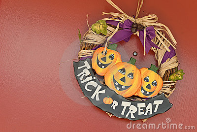 Trick Or Treat Sign on Door