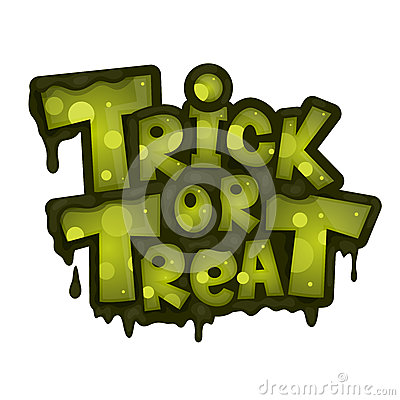 Trick or treat on white background