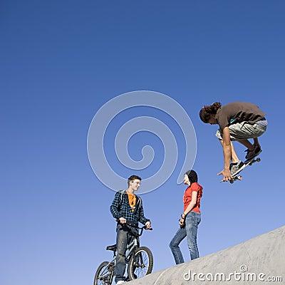 Tricks at skate park