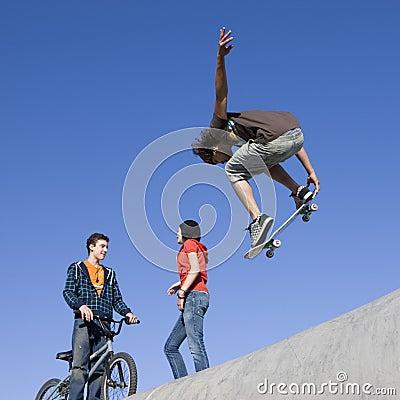 Tricks at skatepark