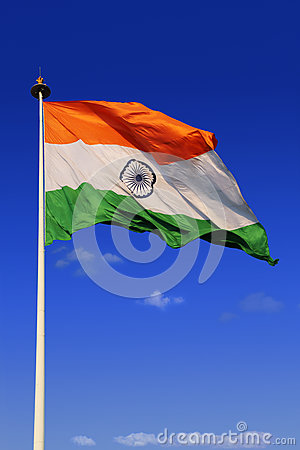 Free Tricolor Indian Flag With Sky In Background Stock Photography - 86025222