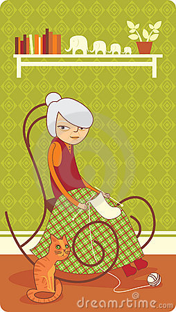 Tricotage de vieille dame