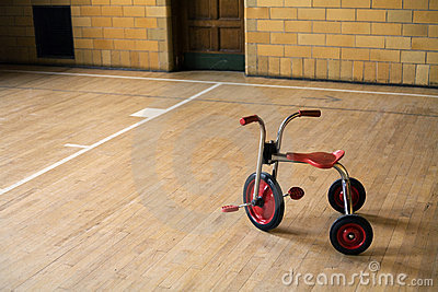 Tricycle in empty gym