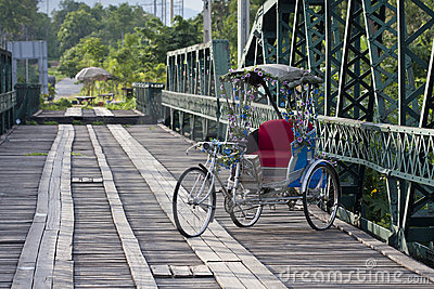 Tricycle in hitorical bridge