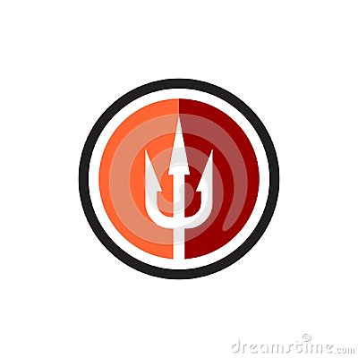 Free Trident Flat Style Logo In A Round Linear Border Stock Photography - 104762242