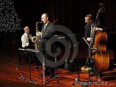 Trifecta Jazz Band Trio Playing at the Temple Editorial Photography