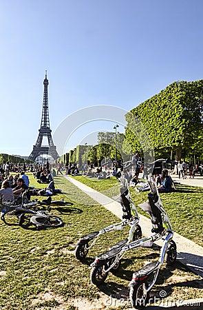Trikke Vehicles in Paris Editorial Photo