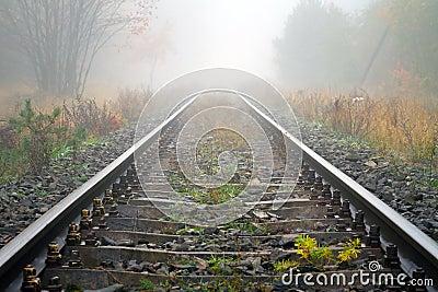 Trilhos do trem no tempo nevoento