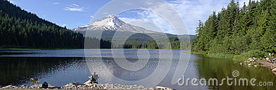 Trillium Lake and Mt. Hood panorama, Oregon.