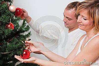 Trim decorate christmas tree