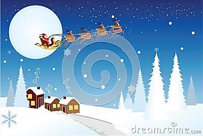 Trineo del montar a caballo de Santa con los renos