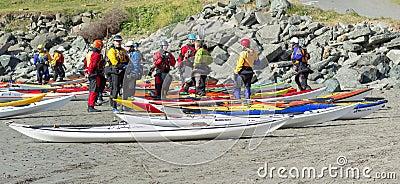 TRINIDAD, CALIFORNIA, USA - MAY 3: Explore North Coast sea kayak Editorial Stock Photo
