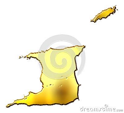 Trinidad and Tobago 3d Golden Map