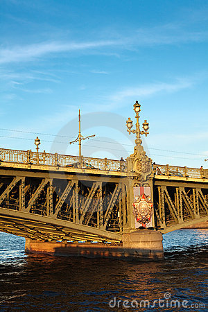 Trinity bridge across the river Neva, Russia