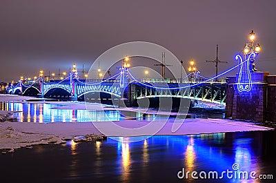 Trinity bridge in St Petersburg, Russia Editorial Stock Photo