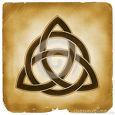 trinity knot symbol old paper stock illustration image