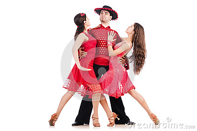 Trio av isolerade dansare