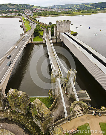 A Trio of Bridges to Conwy Castle Editorial Stock Image